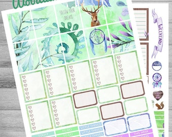 Woodland animal stickers, Printable Planner Stickers, use with Erin Condren, Weekly kit, Spring kit, Deer, florals, Happy, meadow, rain