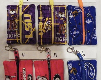 LSU Georgia Kentucky Clip On Zipper Pouch for Backpack Purse Bag that Holds Gift Card Money Inhaler Keys Jump Drive Hair Clips Candy License