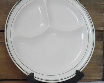 """Large Vintage 3 Section 11"""" Grill Plate, Warwick China, Green Stripe, Divided, Restaurant Ware, Diner China, Hotel Ware, Large Serving Dish"""