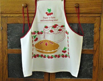 Vintage White Chef's Summer Apron, Red Trim, Pie and Cake Images, Strawberries, Housewarming Gift, Country Kitchen Cooking Apron, Old