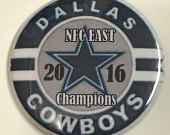 "Dallas COWBOY *  2016 NFC E. Champions - 2.25"" Button -  Magnet - or Mirror - NFL Cowboy Souvenir"