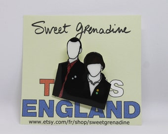 """This Is England """"WOODY AND LOL"""" Shrink Plastic Brooch"""