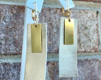 Metallic Silver Leather/ Polished Brass/ Rectangle Earring/ Geometric Earring