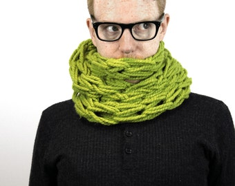 Seriously Chunky arm-knitted infinity scarf - MEADOW GREEN -
