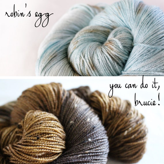 Bumblebee Shawl Kit Preorder- Robin's Egg and You Can Do It, Brucie