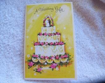 Wedding gift card / Yellow wedding cake card / wedding card