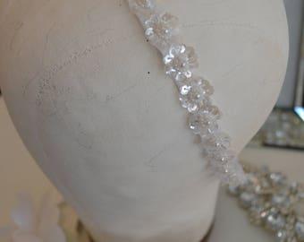 Round Pearls Jewelry Headband or Pearl Wedding Sash / Jewelry Headband / One Pearl Sequins / White Satin Organza Ribbon / Communion / Bride