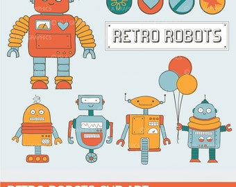 Retro Robots Digital Clip Art – for scrapbooking, party decor, invitations, stationery, stickers and web design - INSTANT DOWNLOAD