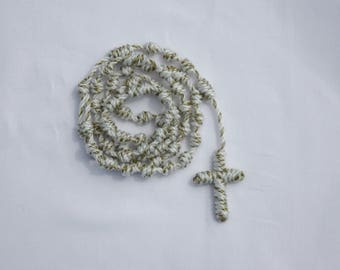 Cord Rosary - Hail Holy Queen...white with hint of gold