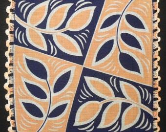Graphic Leaves Handkerchief Cotton Hankie with Hand Tatting