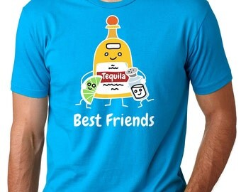 Party T-Shirt Tequila Best Friends T-Shirt Pub Tee Gift For Friends Drinking Tee