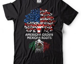 American Grown Mexican Roots T-Shirt American Mexican Patriotic T-Shirt