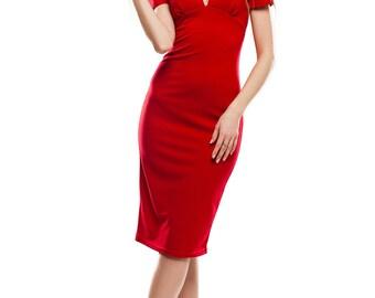 Red Dress Elegant Knee Length Dress Work wear Pencil Dress Red Pencil Dress