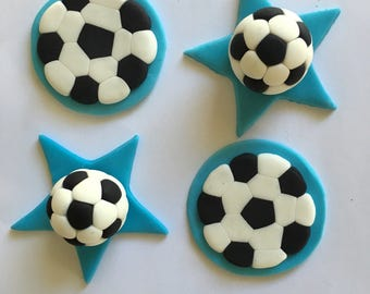 Set of 12 or 24 Soccer Balls cupcake toppers