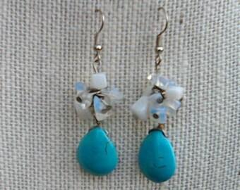 Turquoise and Quartz Earrings