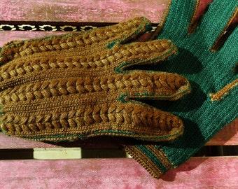 Knit Gloves for Men Vintage Chunky Knit Mens Gloves Winter Gloves Mens Gloves Brown Full Fingers Gloves Short Mens Gloves 1970s vintage