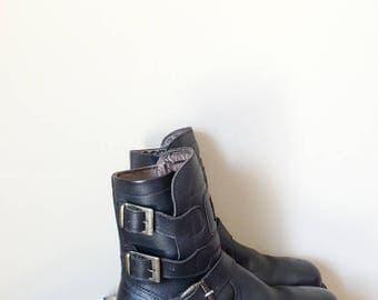 Bottes de motard pour homme bottes de combat noir taille 9.5 biker cuir bottes  moto bottes