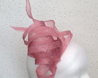Dusky Pink Fascinator Hatinator Headpiece Wedding Dusty Pink Fascinator on Clip or Comb Bespoke