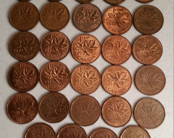 29 canada vintage coins 1960 - 1989 coin lot cents - world foreign collector money numismatic a44