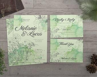Watercolor Wedding Invitation | Wedding Suite | Watercolor Invitation | Nature Wedding | Printable | Custom