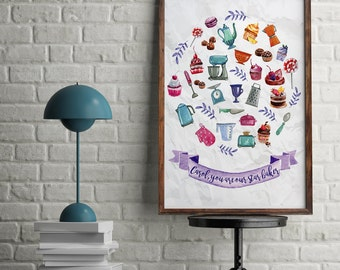 Star Baker Watercolour Kitchen Utensils Cooking Baking Personalised Kitchen Wall Art Print