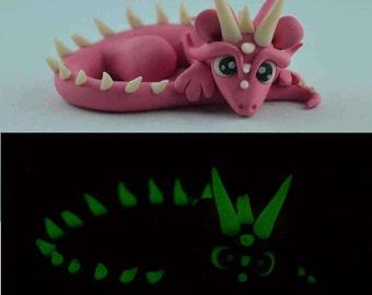 pink dragon, pink glow in the dark dragon figurine, handmade dragon sculpture, original gift idea, clay dragon, glow in dark