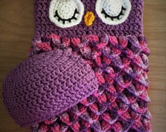 Newborn Owl Cocoon - Newborn Photo Prop - Baby Shower Gift - Owl Gift Set - Owl Baby Blanket - Crochet Owl Cocoon