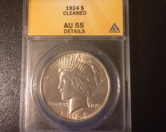 1924 Peace Silver Dollar - Authenticated - Graded AU 55