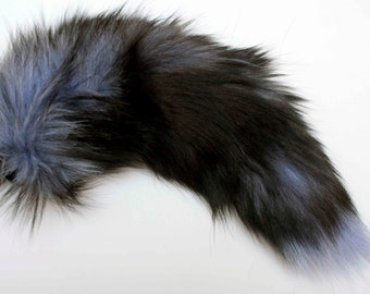 Dog Tail Long Fluffy Soft Fur Fox Dog Tail with Black, Purple, or Pink Silicone Plug Butt Anal Plug Fetish Cosplay Petplay Furry Animal