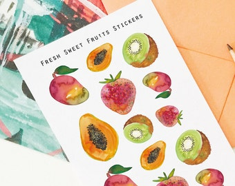 Fresh Sweet Fruit Stickers, Fruit Stickers, Botanical Stickers, Planner Stickers, Erin Condren, Filofax, Tropical Fruit