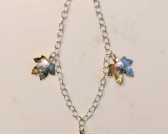 Sterling Silver Maple Leaf Charm Bracelet