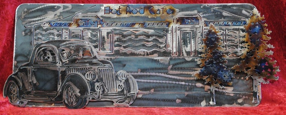 Hot Rod Cafe 1936 Ford 3 Window Coupe, Metal Wall Art Sign, Classical Car, Vintage Style Art, Metal Automobile, Gift for Him, Automotive Art