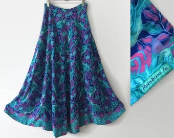 1990s Sea Turtle Rainbow Jo Hawaiian Rayon Maxi Summer Skirt S/M