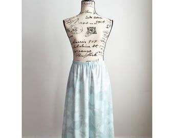 70s Polyester Skirt, Vintage Pale Seafoam Green Skirt, Vintage Midi Skirt