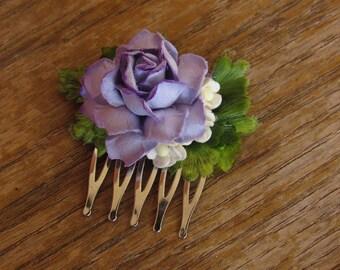 Mini Purple Flower Hair Combs - Flower Hair Comb, Decorative Combs, Flower Hair Accessories, Floral Hair Comb, Purple Flower Hair Comb