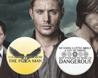 """SALE 2 Pack, Supernatural Pins, 2.25"""" Pins, Castiel Quotes, Sam Winchester Quotes, Sam and Dean Winchester, Protection Spell, Angel Wings"""