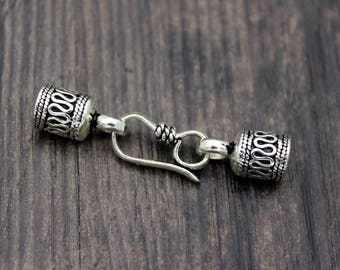 5mm Sterling Silver cord ends, Sterling Silver end caps, leather cord end cap,silver hook clasp for cord