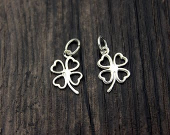 1PC sterling silver four leaf clover charm, sterling silver clover pendant,Bright silver clover,good luck charm, lucky charm