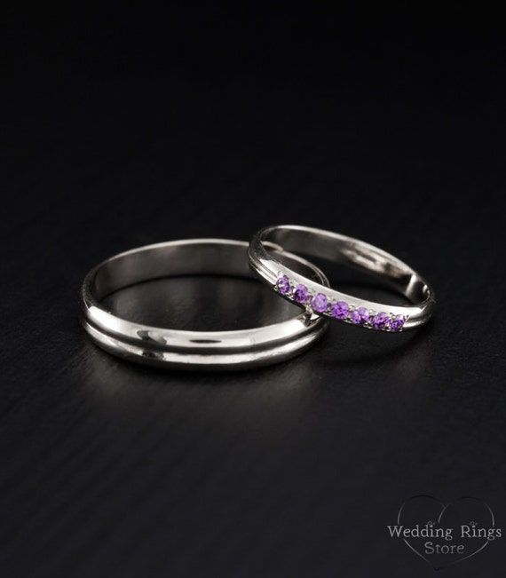 Tiny wedding band his and hers couple rings his and hers for Tiny wedding ring