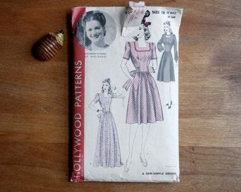 1940s Hollywood Pattern/ 1940s Dress Pattern/ Size 18/ Bust 36/ Hip 39