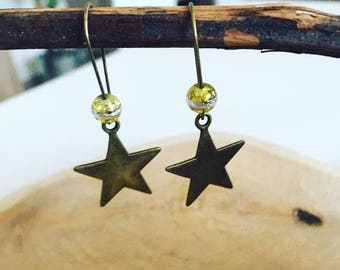 "Earring charm ""Silver yellow star"""