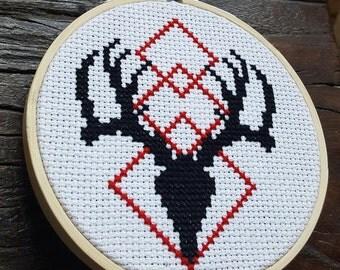 Stag Skull Cross Stitch Kit / Geometric / Minimalist