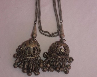 Tribal Primative Lariat Silver Tone Vintage Necklace
