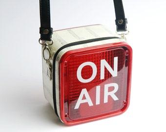 Crossbody bag recording studio light - FREE SHIPPING - recycled bag, Music lover's gift, Sling bag, retro bag , gift for her,  Birthday gift