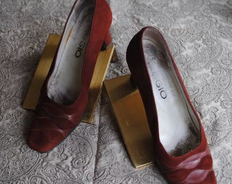 Women's shoes in suede and leather Burgundy 1990