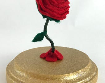 Small Rose, Felt Rose, Baby Rose, Enchanted Rose, Beauty and the Beast Rose, Wedding Gift, Gift for Her, Rose Gift, Red Rose, Gold Base