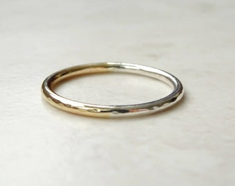 9ct Gold Ring - Gold and Silver Ring - Mixed Metal Ring - Silver and Gold Band - Stacking Ring - Hammered Gold Band - Thin Wedding Band