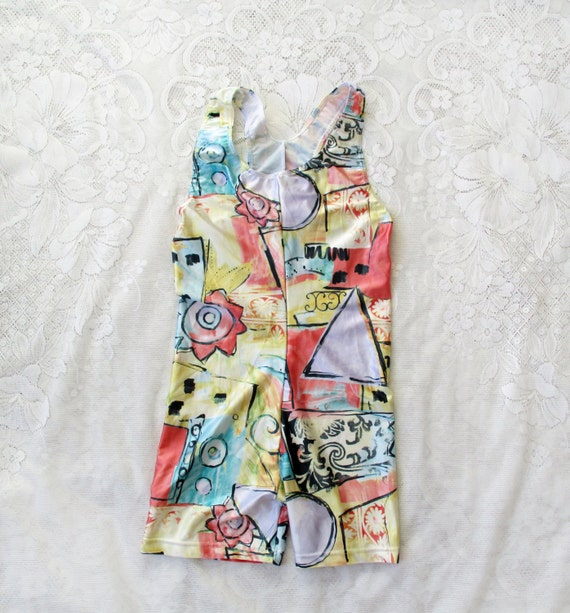 Shorts onesie swimsuit, printed swimsuit, vintage swimsuit, 80's swimsuit, grafitti, european fashion, bathing suit, one piece swimsuit
