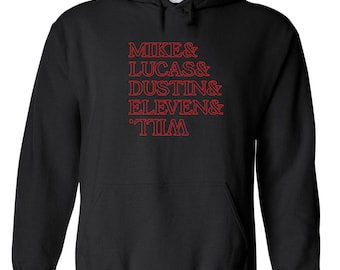 Mike Lucas Dustin Eleven and Will the upside down tv show things alien retro - Apparel Clothing - Hoodie - Hooded Sweatshirt - 594
