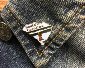 Vintage South Carolina State enamel lapel pin (stock# T05) | hat pin, travel pin, state pin, southern pin